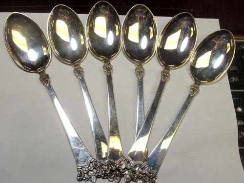 6 MAGNUS AASE 830S SILVER DINNER SPOONS ANITRA PATTERN, BERGEN, NORWAY 8 INCHES