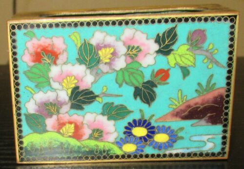 RARE OLD INABA JAPANESE FLORAL CLOISONNE ENAMEL MATCH BOX UNSIGNED