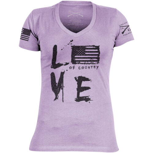 Grunt Style Women's Love of Country Revisited V-Neck T-Shirt - Purple <br/> Exclusive Seller of Grunt Style on eBay