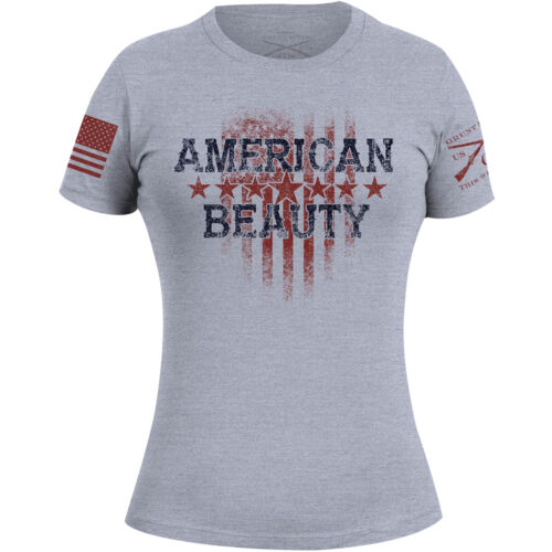 Grunt Style Women's American Beauty 2.0 T-Shirt - Gray <br/> Exclusive Seller of Grunt Style on eBay