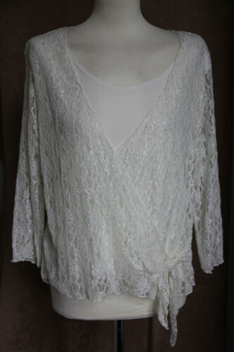 3/4 Sleeve Cream Lace Top with Matching Top - Size L/XL - Mystique
