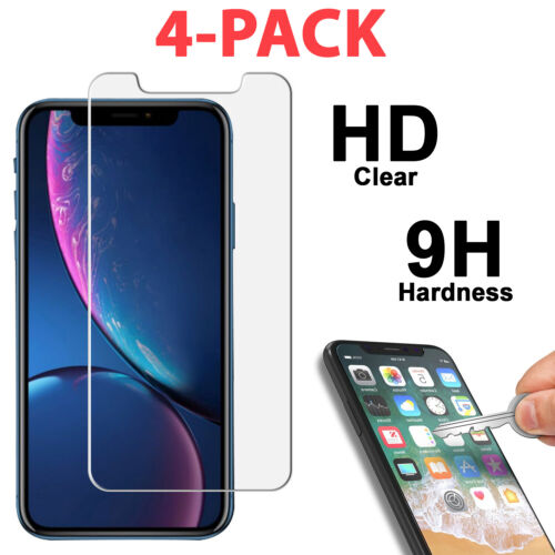 4-Pack Tempered Glass Film Cover for iPhone 11 PRO XR X XS Max SE 6 6S 7 8 Plus