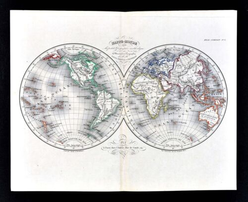 1865 Meissas & Michelot Map - World in Hemispheres - America Europe Africa Asia