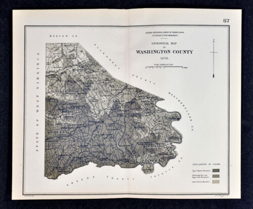 1878 Geological Map - Washington County Pennsylvania by Lesley Geology Survey PA