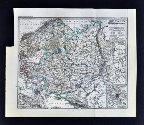 1877 Petermann Map - Russia in Europe - Railroads & Rivers Moscow St. Petersburg