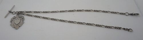 Antique English 30.5g Sterling Silver Double Albert Watch Chain with Fob