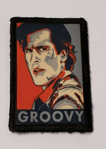 """Ash Evil Dead """"GROOVY"""" Morale Patch Tactical ARMY Hook Military USA Badge FlagArmy - 48824"""
