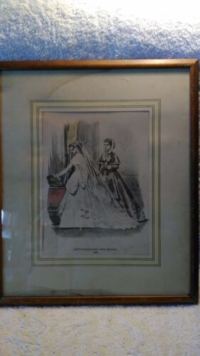 """16&1/2"""" by 14"""" Godey's Americanized Paris Fashions 1860 Painting"""