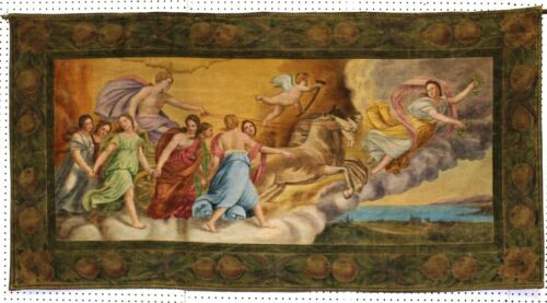 ANTIQUE-ITALIAN Painted Tapestry Aurora C1850 Flying Chariot & Angels to Heaven