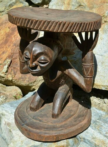 Antique African Luba Carved Wood Stool Chair Caryatid Female Figure Congo Africa