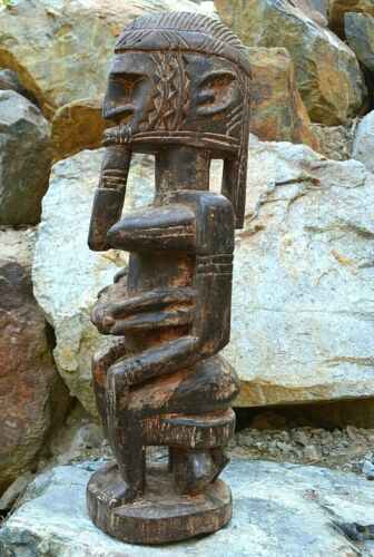 Antique African Hand Carved Dogon Tribe Mother & Child Statue Wood Figure, Mali