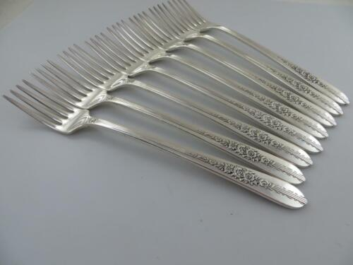 8 Grille, Dinner Forks ROYAL ROSE Nobility Plate Oneida Silverplate Flatware