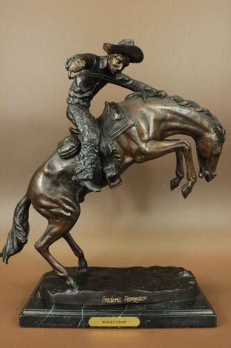 Frederick Remington 'Wooly Chaps' Bronze Statue Horse Western reproduction Decor