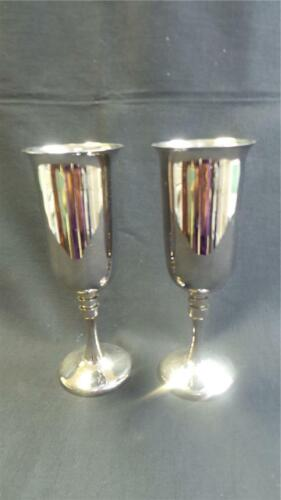 STUNNING SILVER PLATED CHAMPAGNE FLUTES X 2