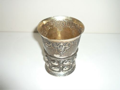 ANTIQUE 17th CENTURY STYLE GERMAN ALLEMAGNE SOLID 800 SILVER BEAKER circa 1900