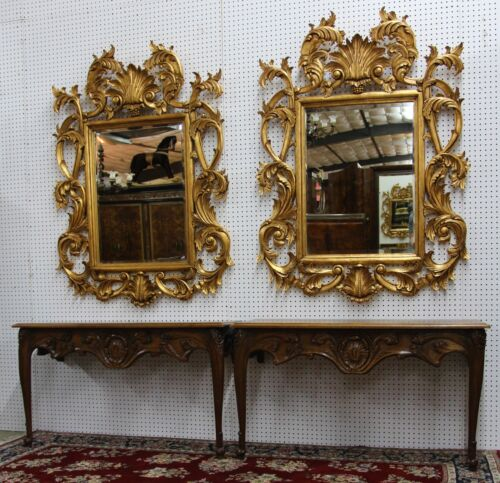 Pair (2) Antique Louis XV Country French Hand Carved Golden Oak Consoles C 1880