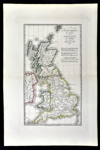1818 D'Anville Map British Isles Roman Period Londinium Hadrians Wall England