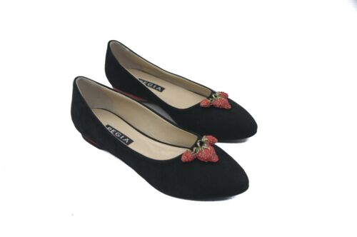 Pegia Black Suede Ballet Pumps with Strawberry Motif