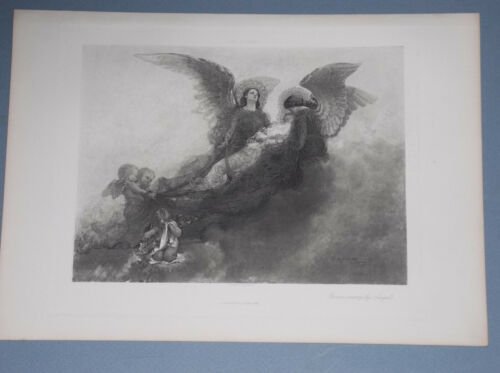 "1890 PHOTOGRAVURE ""BORNE AWAY BY ANGELS"" BY CARL GUTHERZ WOMAN CARRIED TO HEAVEN"