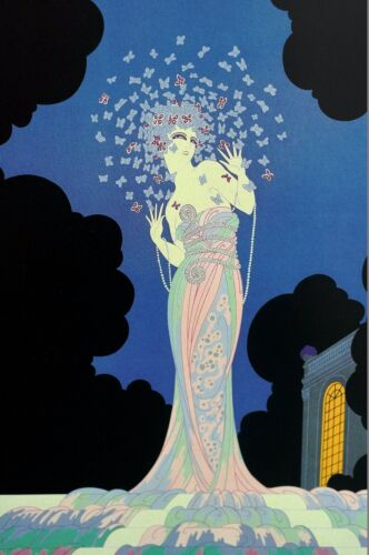 Erte Print 1987 FANTASIA Surrounded by BUTTERFLIES BUTTERFLY Illustration Deco