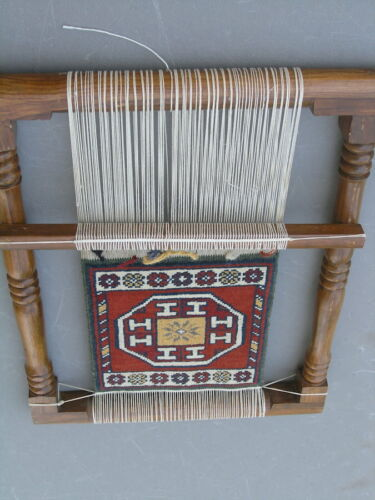 """Finished Oriental Hand Woven Rug on Wooden Loom 16x21 inches 9""""wx10""""h Rug"""