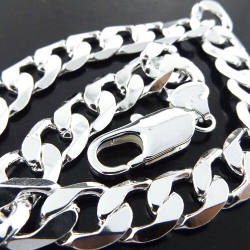 """Necklace Chain 925 Sterling Silver S/F Solid Real Curb Cuban Mens Bling Link 20"""""""