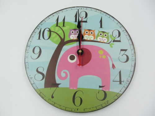Child's Cute Owls and Elephant Animal Wall Clock