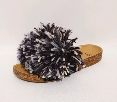 UGG CINDY RRP £110 BLACK WHITE SUEDE GENUINE LEATHER YARN FRINGE SANDALS WOMENS