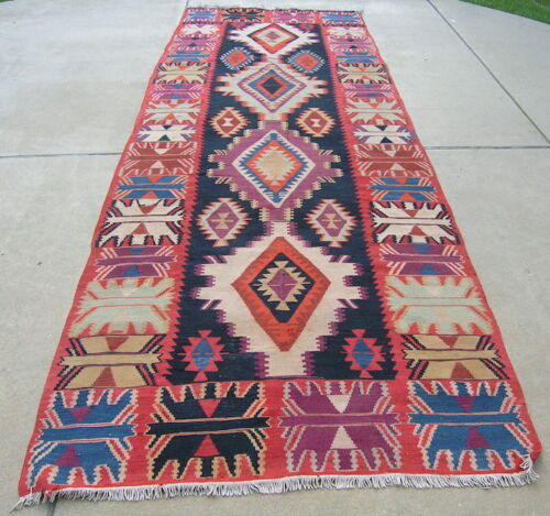 Vintage Anatolian Turkish Kilim Oriental Rug Carpet 4 medallion 60x174""