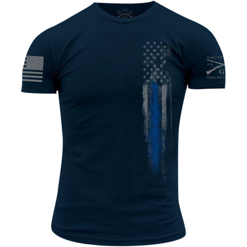 Grunt Style Blue Line Flag T-Shirt - Navy <br/> Exclusive Seller of Grunt Style on eBay