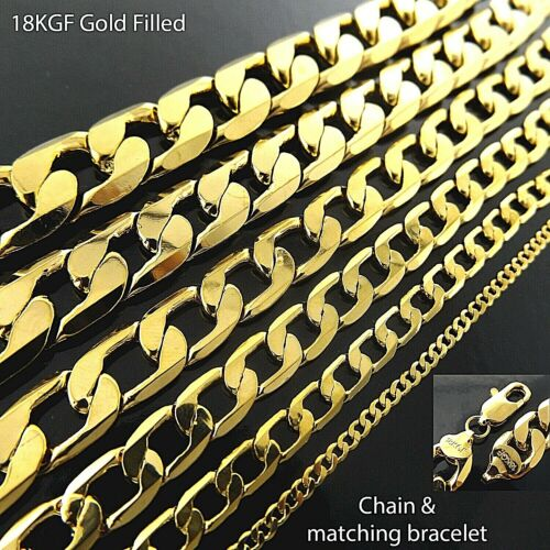 Mens Ladies Statement Necklace Chain Bracelet 18K Yellow G/F Gold Solid Curb