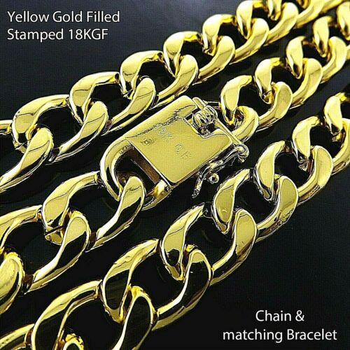 Necklace Chain Bracelet Real 18K Yellow G/F Gold Solid Mens Curb Figaro Link