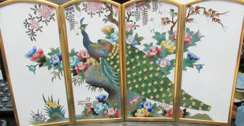JAPANESE INABA CLOISONNE WHITE ENAMEL PEACOCK FLORAL SCREEN SIGNED