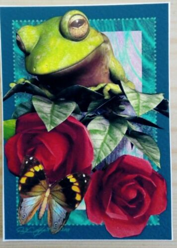 © ART - Ltd.Ed. Green Tree Frog and red roses - ACEO collector card by Di