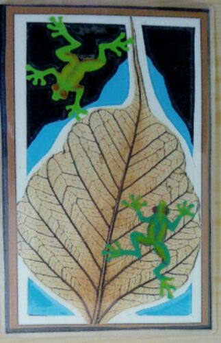 © ART - Ltd.Ed. laminated collage Green Tree Frogs ACEO collector card by Di