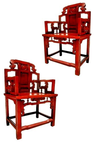 PAIR CHINESE CHNG DYNASTY TRELLISED RED OXIDE LACQUER ARM CHOW CHAIRS MING STYLE