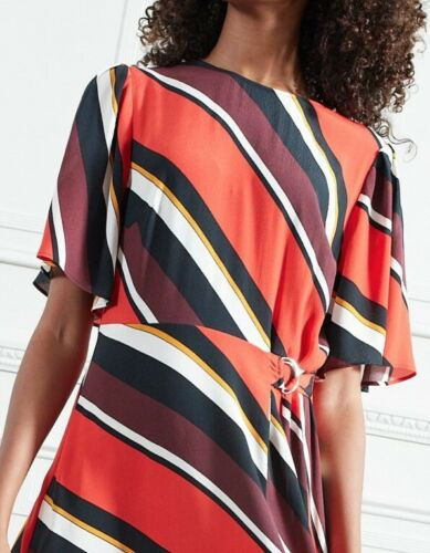 F&F New Striped Midi Dress with Tie & short flair sleeves Red Sizes 6-8-10-12
