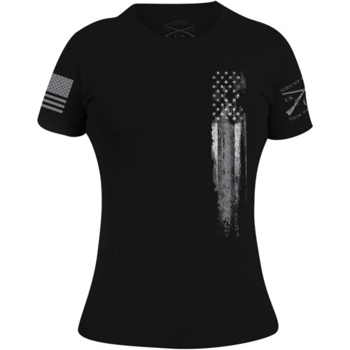 Grunt Style Women's Silver Line Flag T-Shirt - Black <br/> Exclusive Seller of Grunt Style on eBay
