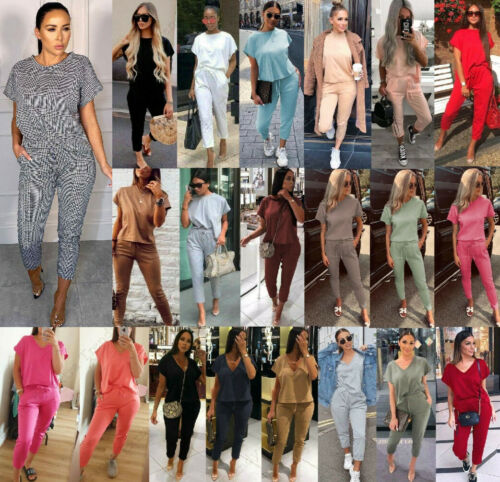Women Ladies Short Sleeve Boxy V Neck Check Tracksuit Ribbed Loungewear Suit Set <br/> High Quality┃UK Plus Size 8-22┃Fast Dispatch┃Best Price