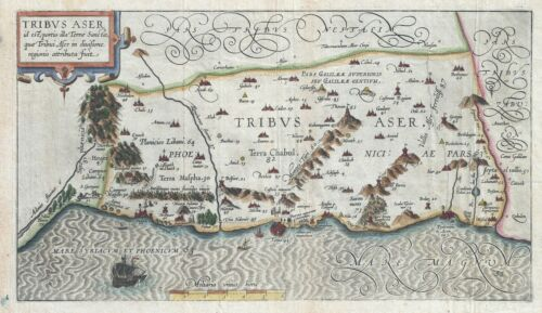 1590 Adrichem Map of Tribe of Asher, Israel (Western Galilee, Mount Hermon)