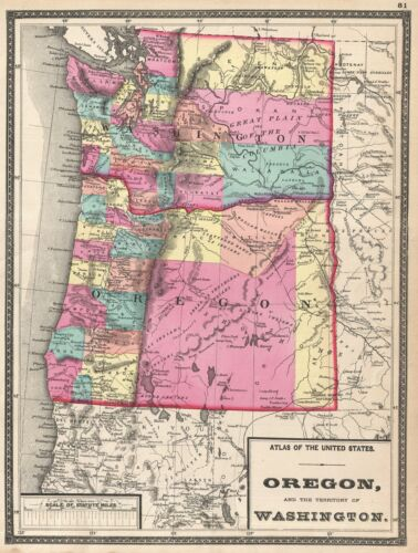1872 Walling Map of Washington and Oregon