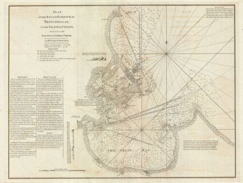 1794 Laurie and Whittle Nautical Map of Trincomalee, Ceylon (Sri Lanka)