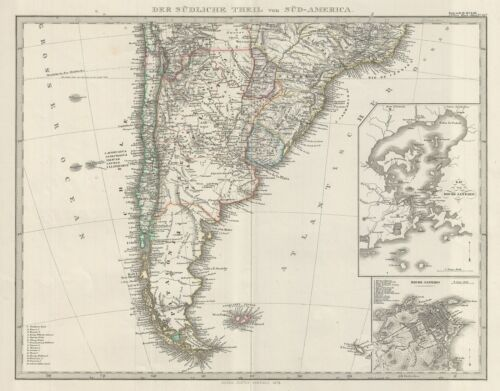 1873 Stieler Map of the Southern part of South America