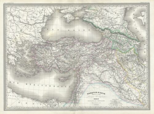 1860 Dufour Map of Turkey in Asia