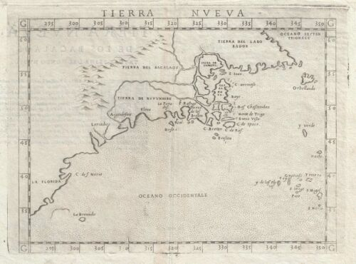 1561 Ruscelli Map of New England and the Maritimes (Norumbega)