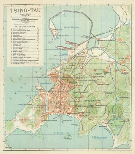 1924 Imperial Japanese Railway Map of Ching-Tao or Qingdao or Tsingtao, China