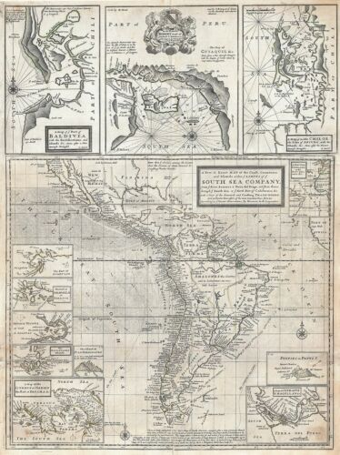 1720 Herman Moll Map of South America (South Sea Company)