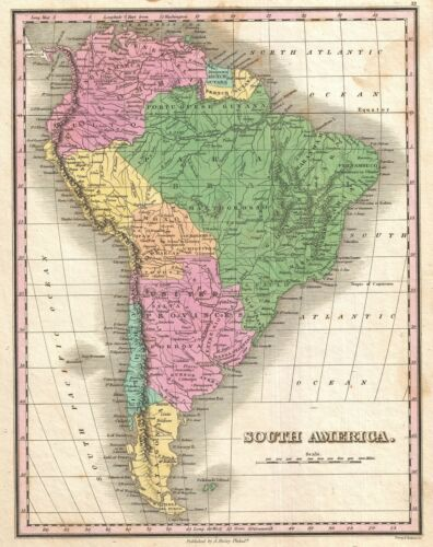 1827 Finley Map of South America