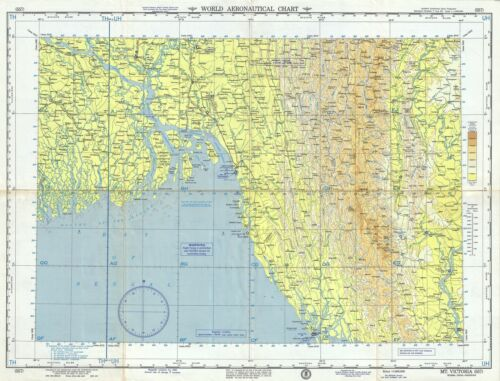 1958 U.S. Air Force Aeronautical Map of the Ganges River Delta, Bangladesh