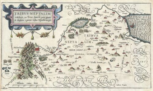 1590 Adrichem Map of the Naphtali Tribe, Israel (Golan Heights, Sea of Galilee)